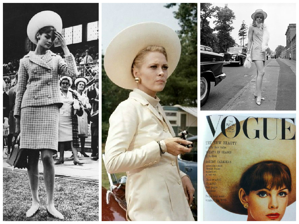 Jean Shrimpton на Melbourne races, 1965 г. Кадр из фильма Loretta Durr, Ascott, 1967 г. Обложка Vogue, май 1963 г.