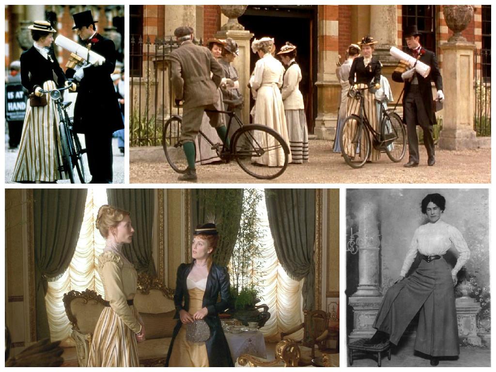 Слева направо  Верхний ряд: 1,2 - кадры из фильма, 3 - журнал мод, 1863 г.; Нижний ряд: 1 - кадр из фильма, 3 – фото 1910 г.