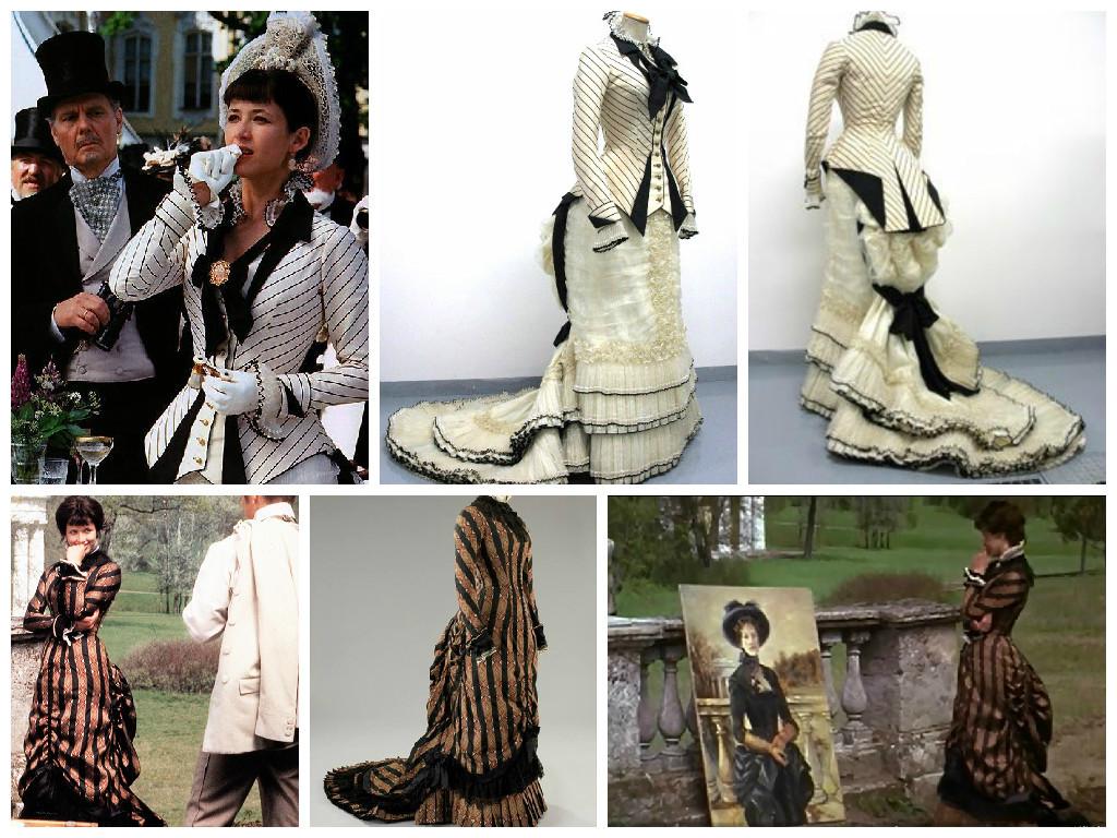 Слева направо. Верхний ряд: 1- кадр из фильма, 2 - 3 – платье Анны, созданное в ателье Tirelli; Нижний ряд: 1 – кадр из фильма, 2 – платье Анны, созданное в ателье Tirelli, 3 – кадр из фильма.