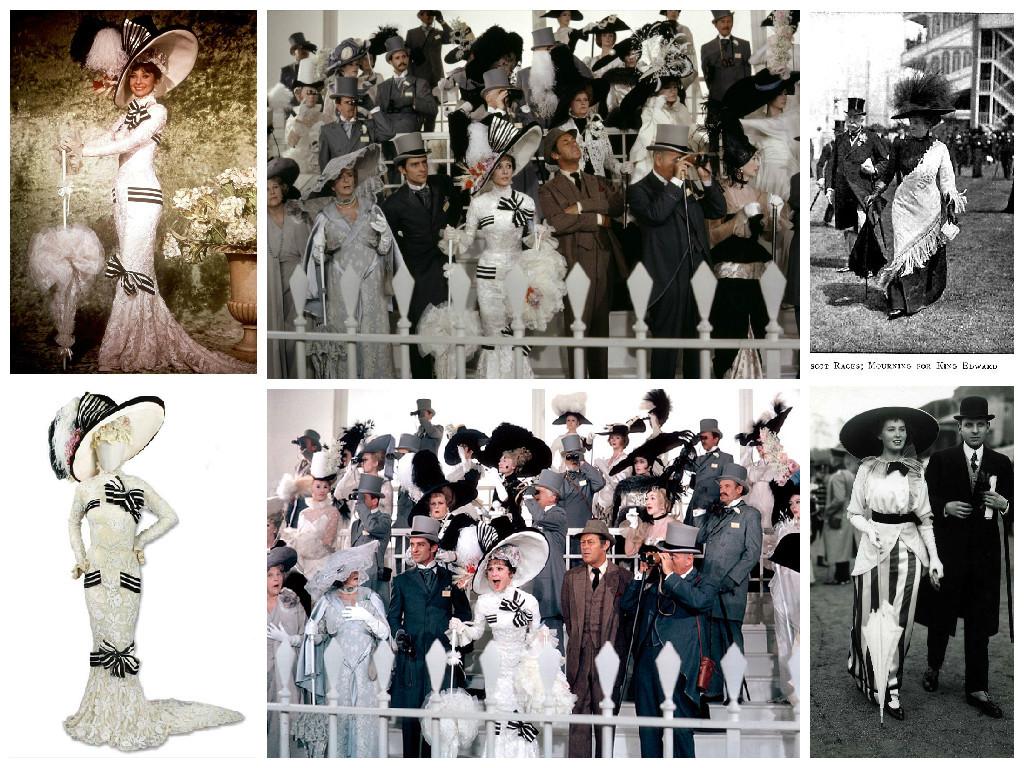 Слева направо. Верхний ряд: 1- промо - фото, 2 - кадр из фильма, 3 – Черный Аскот 1910 г.; Нижний ряд: 1 – платье, 2 – кадр из фильма, 3 – Аскот, 1914 г.