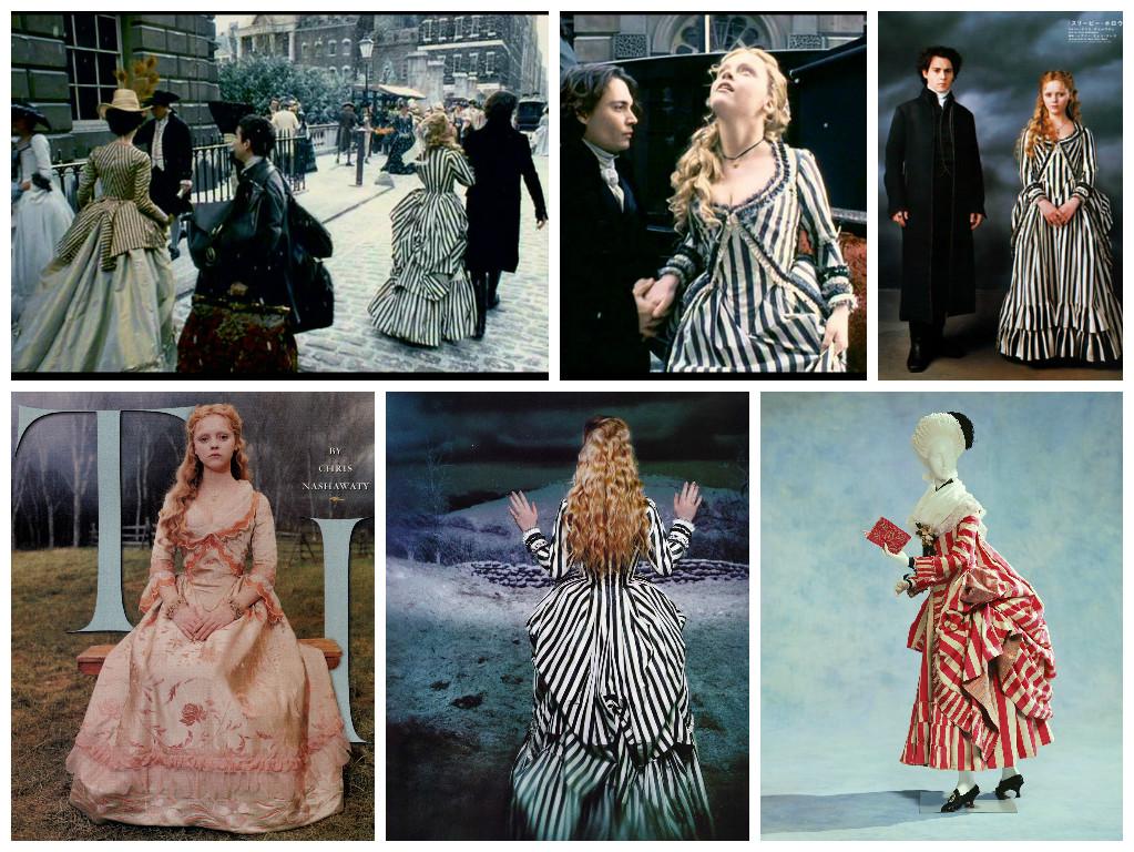 Слева направо. Верхний ряд: 1,2 - кадры из фильма, 3 – промо фото; Нижний ряд: 1,2 – промо фото, 3 – платье, 1780 г.