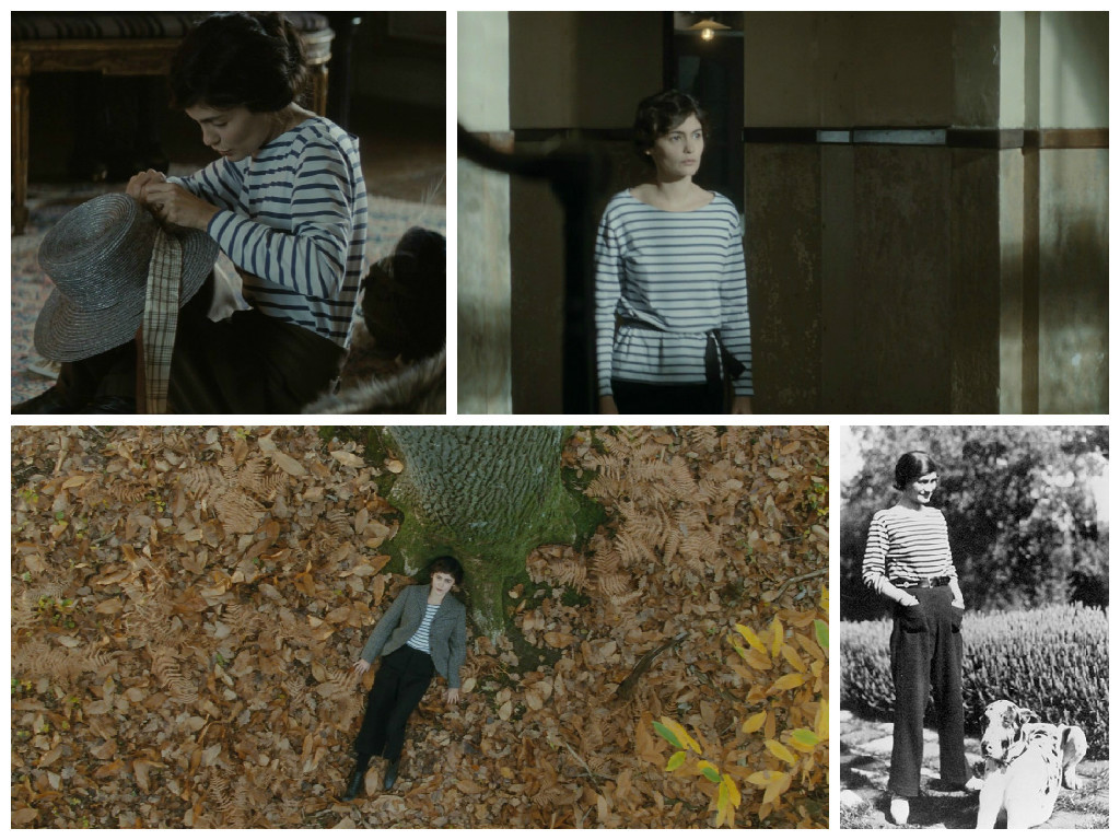 Верхний ряд: кадры из фильма. Нижний ряд (слева направо): 1 - кадр из фильма, 2 - Коко Шанель