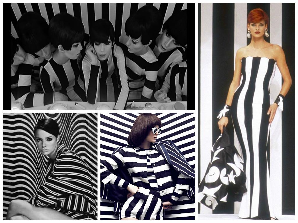 Вверху слева: кадр из фильма. Остальное: модные съемки и показы