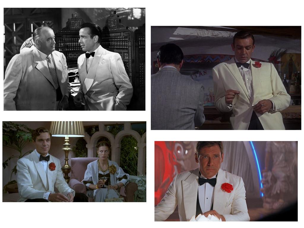 Вверху: Хамфри Богарт «Касабланка» (1942), Шон Коннери в «Голфингер» (1964) Внизу: Николас Клэй в «Зло под солнцем»  (1981), Харрисон Форд в «Индиана Джонс и храм судьбы» (1984)