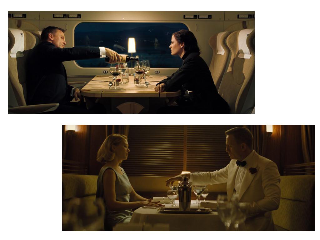 """Вверху: кадр из «Казино «Рояль» Внизу: кадр из """"007: Спектр"""""""